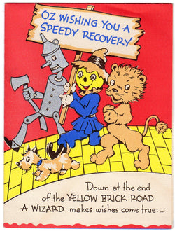 Wizard of Oz Yellow Brick Road Vintage Unused 1940s Get Well Greeting Card