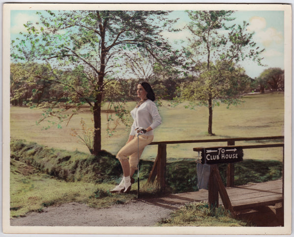 Lovely Golfing Brunette Lady Vintage 1950s Colorized Fashion Modeling Photo