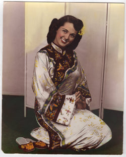 1950s Boston Fashion Model in Kimono Vintage Colorized Modeling Photo