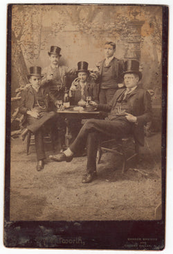 Young Men Drinking & Smoking Antique Cabinet Photo - Sharon Springs, New York
