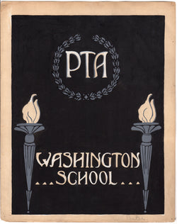 Washington School PTA Missouri Original WAC Artist Art Deco Mock-up Painting 1926