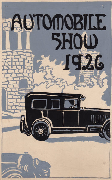 Art Deco Car Show Original WAC Artist Automobile Advertising Mock-up Painting 1926