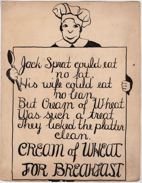 Jack Sprat Poem Original WAC Artist Cream of Wheat Advertising Mock-up Painting 1920s
