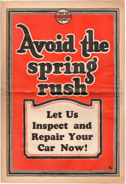 Automotive Garage Repair Shop Antique Graphic Advertising Inspection Poster 1928