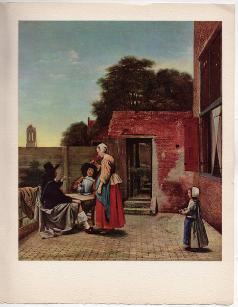 A Dutch Courtyard Painting by Artist Pieter De Hooch Vintage Art Print