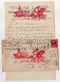 William Fehr Farm Tools Schuylkill PA Antique Graphic Advertising Letterhead