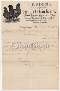 A. F. Kimmel Cornish Indian Game Hens Orwigsburgh PA Antique Autograph Signed Letter