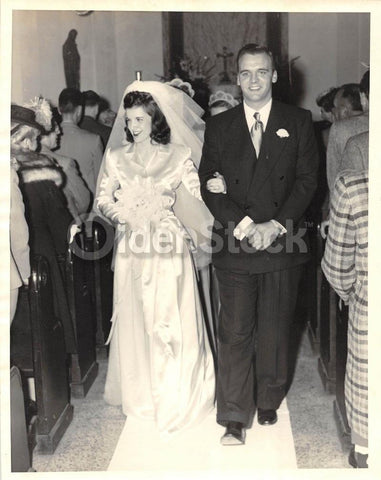 Lovely Young Bride Groom Vintage 1950s Wedding Dress Photograph K Townconsignments