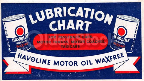 Havoline Motor Oil Lubrication Chart Vintage Graphic Advertising Flyer