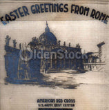 Red Cross Easter Greetings from Rome Vintage WWII Graphic Art V-Mail Letter