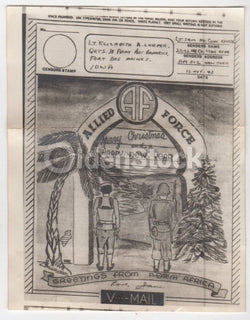 North Africa Allied Forces Vintage WWII Graphic Art Christmas V-Mail Letter