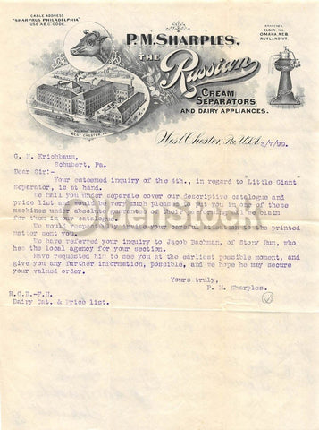 P. M. Sharples Russian Dairy Supply Antique Farm Advertising Letterhead 1899