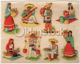 Mexican Villagers Vintage 1940s Graphic Art Design Transfer Decals