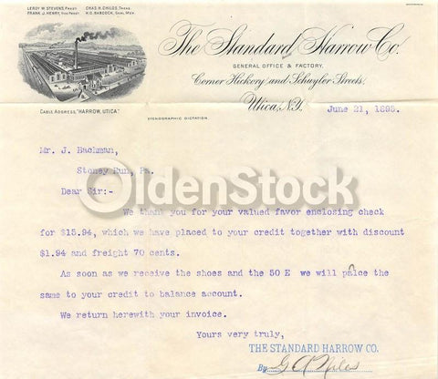 Standard Harrow Company Utica New York Antique Advertising Letterhead 1895
