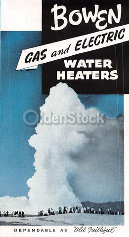 Bowen Gas & Electric Water Heaters Vintage Graphic Advertising Flyer
