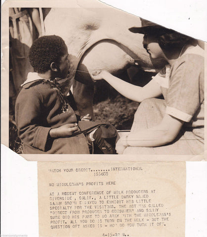 CUTE AFRICAN AMERICAN BOY DRINKING COWS MILK ON THE FARM ANTIQUE PRESS PHOTO - K-townConsignments