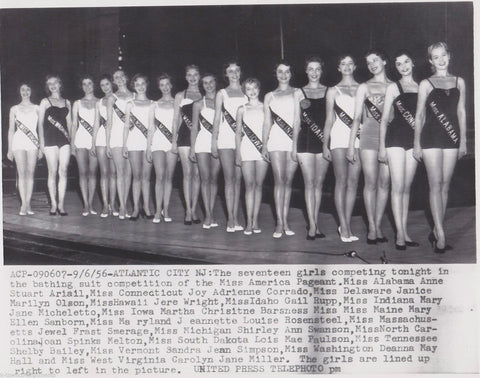 MISS AMERICA PAGEANT MISS ALABAMA VERMONT IOWA & MORE SWIMSUITS PRESS PHOTO 1956 - K-townConsignments