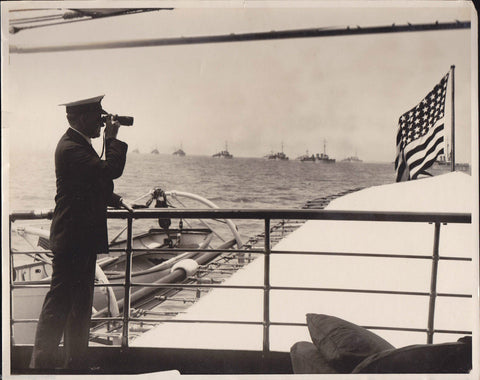 President Coolidge Battleship Fleet American Flag Vintage 1920s News Press Photo - K-townConsignments