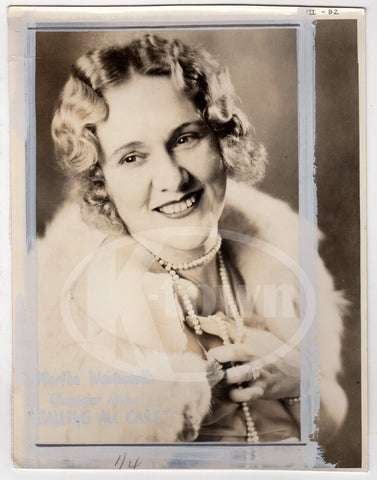 MARTHA WENTWORTH ABBOTT & CONSTELLO RADIO ACTRESS VINTAGE PASTE-UP PRESS PHOTO - K-townConsignments