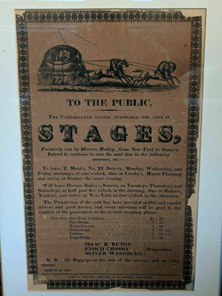 New York City Stagecoach Routes Antique Engraving Advertising Broadside Poster