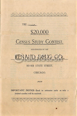 Renaud Drug Company Chicago Antique Census Study Contest Advertising Flyer