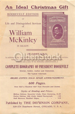 Life of William McKinley Biography Antique Book Sales Advertising Flyer