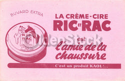 Ric et Rac French Beauty Facial Creme Antique Graphic Advertising Ink Blotter