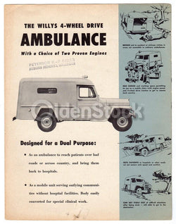 Willy's Jeep Hospital Ambulance Vintage Graphic Advertising Sales Brochure