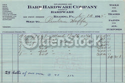 Bard Hardware Reading Pennsylvania Antique Advertising Sales Receipt 1915