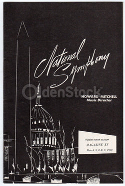 Howard Mitchell National Symphony Wagner Vintage Music Theatre Program 1960