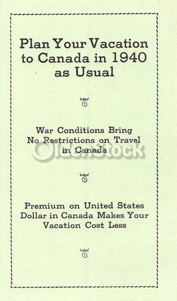 Canadian Vacations During WWII Unusual Vintage War-time Travel Advertising Brochure