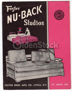 Foster Studios Nu Back Sofas Utica NY Vintage Graphic Advertising Sales Brochure