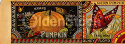 Olney & Floyd Butterfly Brand Golden Pumpkins Antique Advertising Canning Label