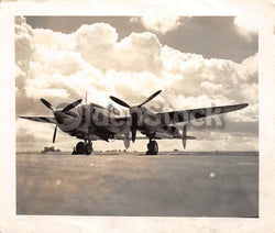 WWII Pin-up Nose Art P61 Black Widow Fighter Plane Vintage Snapshot Photo