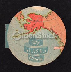 Alaska Steamship Cruise Line Rare Antique Graphic Advertising Map & Travel Booklet
