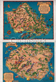Hawaii Tourist Bureau Vintage 1940s Mark Twain Quote & Graphic Fold-Out Map Brochure