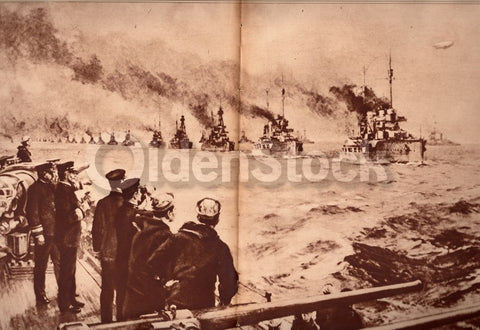 WWI German Navy Fleet Surrender Painting Antique News Photo Poster Print
