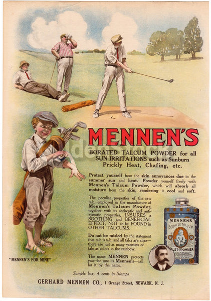 Mennen Talcum Sun Block Golfing Scene Antique Graphic Advertising Print 1912