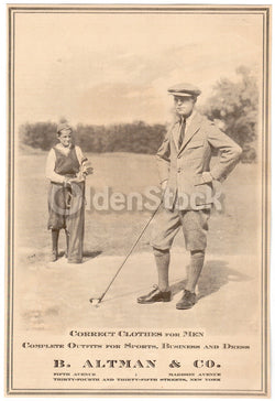B. Altman Men's Fashion Golf Clothing Antique Advertising Print 1920