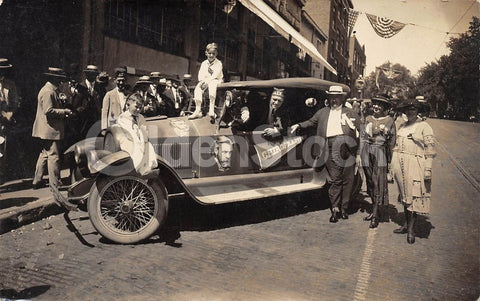 1910s Chiropractor Occupational Parade Car Antique Advertising Photo Postcard
