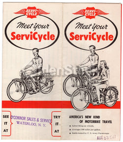 ServiCycle WWII Era Motorcycles Vintage Graphic Advertising Poster Flyer 1947