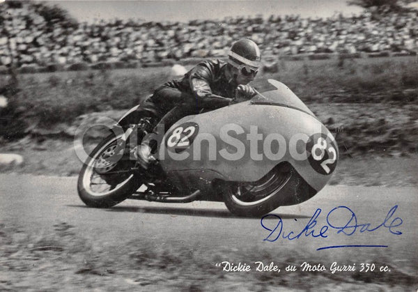 Dickie Dale British Motorcycle Racing Driver Original Autograph Signed Postcard