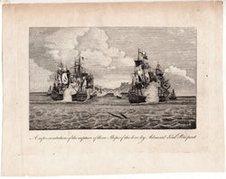 Admiral Bridport British Navy Capture of French Fleet Antique Engraving Print