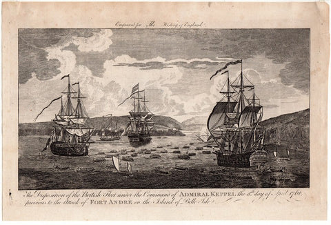 British Royal Navy Fleet Admiral Keppel's Attack on Fort Andre Engraving Print