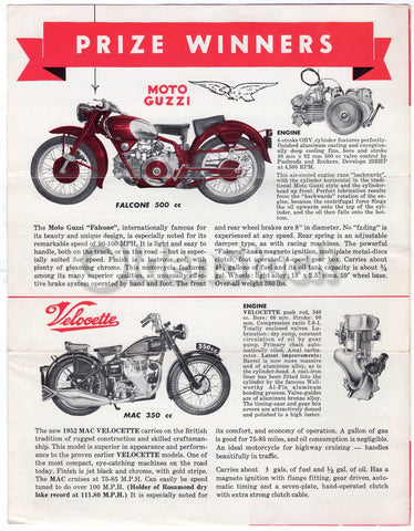Branch Motorcycle Sales Los Angeles Moto Guzzi & Velocette Advertising Letter 1951