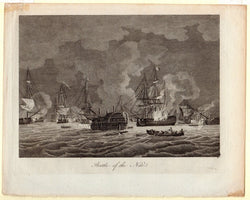 Horatio Nelson Naval Battle of the Nile Antique Nautiical Engraving Print