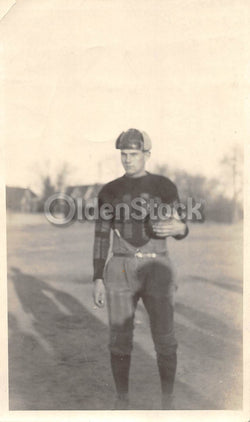 Young American Football or Rugby Player in Uniform Antique Snapshot Photo