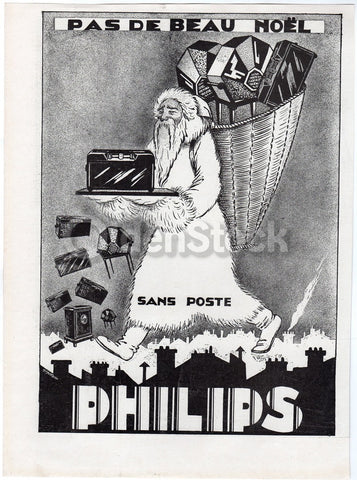Philips Electronics Santa Claus St. Nick Antique Graphic Advertising Print 1930