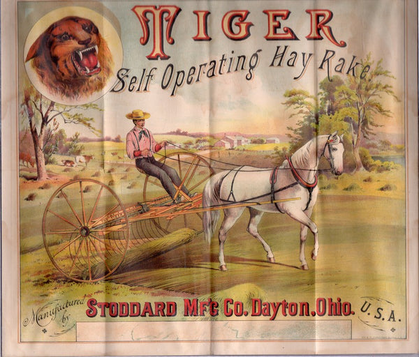 Stoddard Farm Tools Hay Rake Dayton Ohio Antique Lithograph Advertising Poster