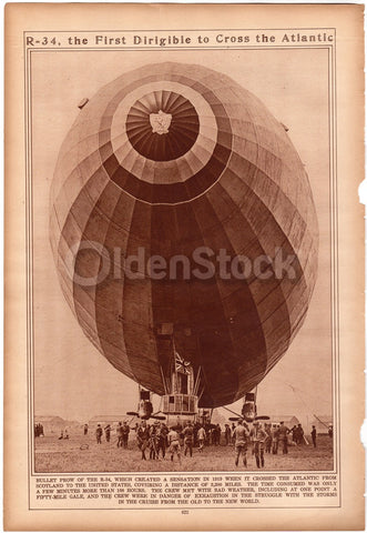 R34 Airship Dirigible Atlantic Crossing WWI Antique News Photo Print